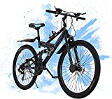 26in Outdoor Road Bikes Folding Mountain Bike Dual Suspension Frame, Fork Lightweight with Aluminum Frame - 26 inch - Outdoor Bicycle for Men and Women[ Ship from U.S. East ] (Black)