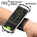 VUP Brassard 180° Rotation de Sport pour Smartphone Bracelet pour iPhone X/8/7 Plus/6/6s, Samsung Galaxy S8/S7/S6 Huawei (Noire)