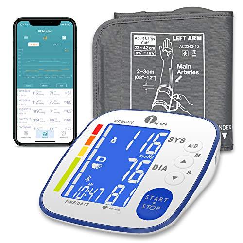 Misuratore di Pressione da Braccio Bluetooth con App e Frequenza Cardiaca, 1byone Sfigmomanometro...
