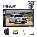 2 Din Autoradio Bluetooth,Écran tactile HD de 7 pouces Poste Radio Voiture Lecteur MP5 Soutien SD/USB/AUX Lien Miroir,Stéréo de Voiture avec Caméra Arrière Télécommande
