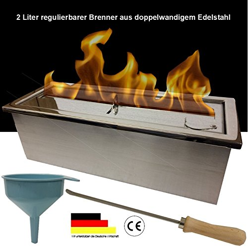 Large adjustable stainless steel 2 liter burner for gel and ethanol fireplaces