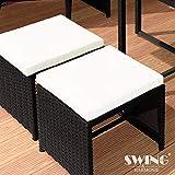 Swing & Harmonie Polyrattan Sitzgruppe Esstisch Lounge Sitzgarnitur Essgruppe Gartenmöbel Set - 3
