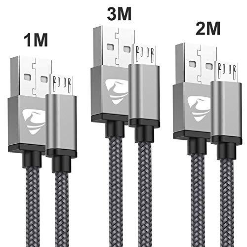 Aioneus Cavo Micro USB [3 Pezzi:1M,2M,3Metri] Cavo USB Micro USB Nylon Intrecciato Android Ricarica Rapida Compatibile con Samsung S7/S6/S5/J7/J6/Nota 5, Huawei, HTC, LG, Kindle, Sony, PS4