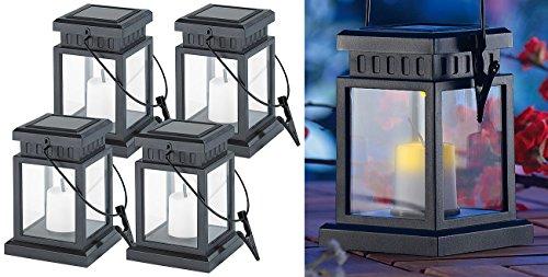 Lunartec Solar Gartenlaterne: 4er-Set Solar-LED-Laternen in asiatischem Design, zum Aufhängen, Akku (Solar LED Lampe)