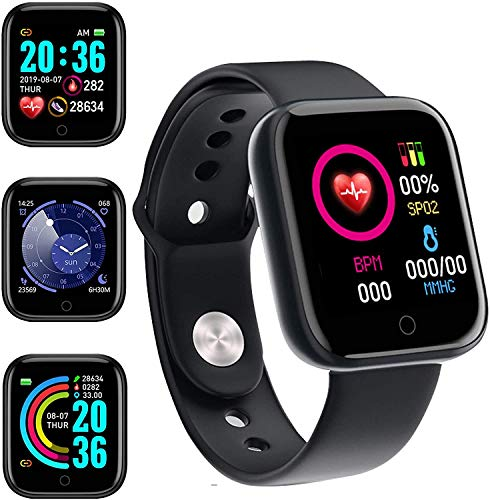 Smartwatch 1.3 Pulgadas Reloj Inteligente Hombre Mujeres Reloj Deportivo con Pulsómetro, Presión Arterial Monitor de Sueño IP67 Smart Watch para xiaomi Huawei Android iOS(Fácil...
