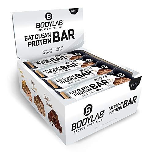 Bodylab24 Eat Clean Protein Bar 12 x 65g / Protein-Riegel mit wertvollen Ballaststoffen / 20g Eiweiß pro Riegel / Leckerer Eiweißriegel für Fitness, Sport und unterwegs / Cookie Dough