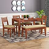 KendalWood™ Furniture Sheesham Wood CNC Cuting Dining Table with 4 Chairs with 1 Bench|6 Seater Dining Set- Dining Room Furniture (Finish Color:-Honey Teak with Cream Cushion)