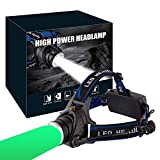 LED Headlamp Rechargeable GreenLight, 1800 Lumens Zoomable Hunting LED head lamp flshlight for Hunting Hiking Camping Fishing Hog Coyote Varmint Hunting