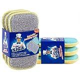 MR.SIGA éponge à récurer double action; par lots de 6, dimension 15 cmx8.5 cm x...