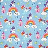 Fabulous Fabrics Tessuto Jersey di Cotone Unicorno Happy Yuni – Azzurro — Vendita al Metro da 0,5m — Oeko-Tex Standard 100 — per Cucire Abbigliamento per Bambini e Abbigliamento Bambino