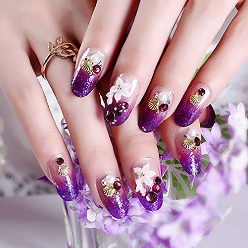 BABALAL Glitter Fake Nails, 24Pcs Purple Rhinestone False Nails Oval Press on Nails with Design for Women and Girls