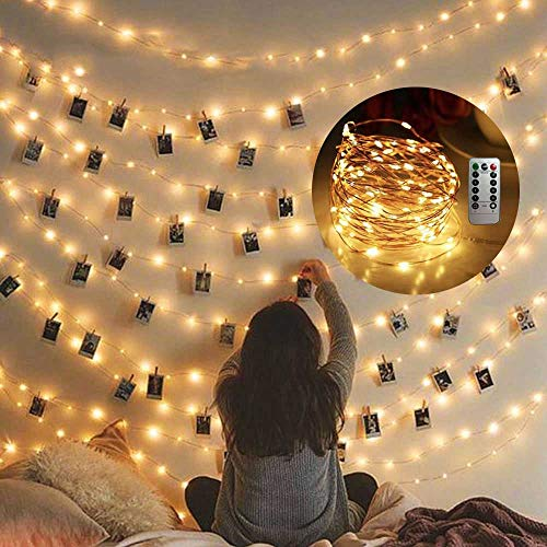 Cocoselected Warm White Twinkling Fairy Lights USB,33ft 100 Micro LEDs String Twinkle Lights with Remote Control...