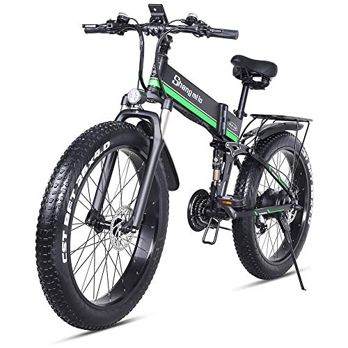 sheng milo 26 Pollici Fat Tire Electric Bike 1000W 48V Snow E-Bike Shimano 21 velocità Beach Cruiser Mens Women Mountain e-Bike Pedal Assist, Batteria al Litio Freni a Disco Idraulici (Verde)