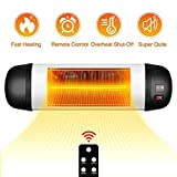 TRUSTECH Outdoor Patio Heater- 1500W Garage Heater w/Remote, 24H Timer Auto Shut Off Outdoor Heater,Super Quiet 3s Instant Warm Wall Heater, Space Heater for Patio, Garage, New Year