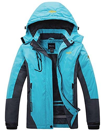 Wantdo Women's Waterproof Mountain Jacket Fleece Ski Jacket US S Blue Small