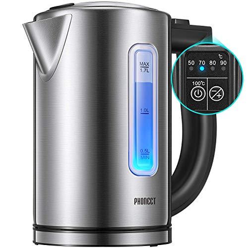 Bollitore Elettrico PHONECT Bollitori In Acciaio Inox con Temperatura Regolabile(50-100C), illuminazione a LED, 1.7L, 2200W Ebollizione Veloce, Senza BPA, Spegnimento Auto