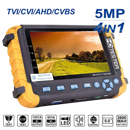 Tester CCTV 4 in 1, Tester monitor HD video coassiale 5MP AHD/TVI/CVI/CVBS, test cavo/video analogico/PTZ Controller, ingresso VGA/HDMI, CCTV Tester telecamera di uscita CCTV