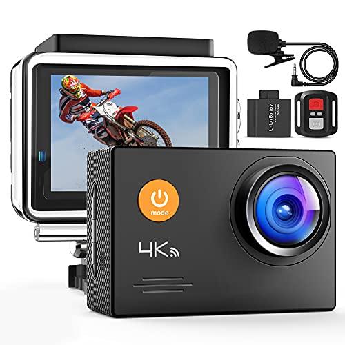 Action Cam, 4K WiFi 40M Impermeabile 2.4G Telecomando Digitale Subacquea Camera con Microfono Esterno Regolabile Grandangolare 2x1050mAh Batterie Accessori Completi