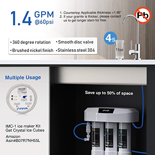 Product Image 5: Frizzlife Under Sink Water Filter System with Brushed Nickel Faucet SP99-NEW, NSF 42&53 Certified 3-Stage 0.5 Micron Removes 99.99% Lead, Chlorine, Chloramine, Fluoride, Odor- Quick Change