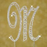 Monogram Cake Toppers Modern Vintage Crystal Cake Topper Silver Letter by Yacanna (caketop M)