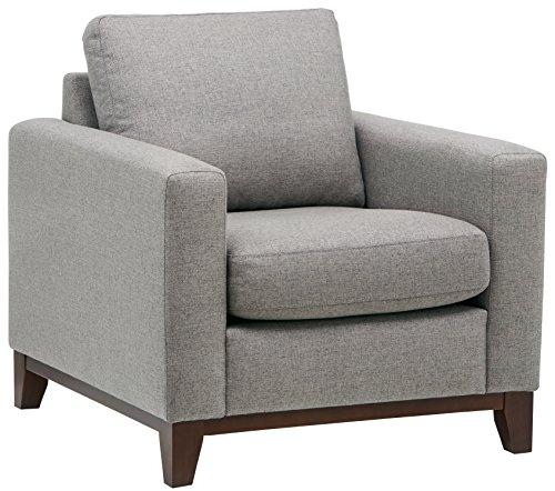 Marchio Amazon -Rivet, sedia con base esposta in legno, modello North End, stile moderno, tessuto...