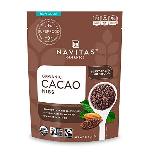 Navitas Organics Raw Cacao Nibs, 8 oz. Bag, 8 Servings — Organic, Non-GMO, Fair Trade, Gluten-Free