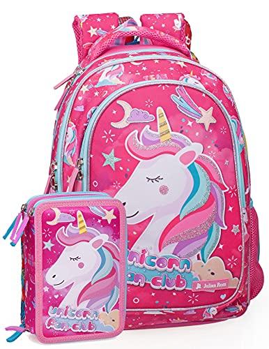 Schoolpack Julian Ross Zaino Scuola, Astuccio riempito, Poliestere (Unicorno Mary)