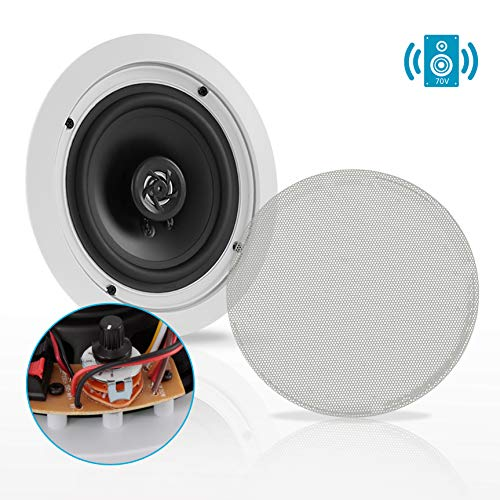 Ceiling and Wall Mount Speaker - 6.5 2-Way 70V Audio Stereo Sound Subwoofer Sound with Dome Tweeter, 500 Watts, in-Wall & in-Ceiling Flush Design for Home Surround System - Pyle PDIC63T (White)