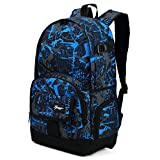Cool Backpack for Teen Boys & Girls, Ricky-H Blue/Black Men & Women's Graffiti Pattern Travel Bag, College Students Bookbag with Laptop compartment -Graffiti Blue
