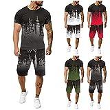 2021 Nouveau Survêtement Homme Ensemble Jogging Hommes Marque 2 pièces Pas Cher T-Shirt Sport - Short Tee Shirt Homme Manche Courte Top et Pantalon Sportwear...