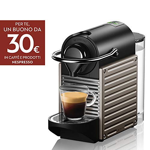 Krups Nespresso XN304TK Pixie - Macchina per caffè Espresso, Ricette Programmabili, 1260 W, Titan,...