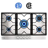 34' Gas Cooktop, GASLAND Chef GH90SF 5 Burners Built-in Gas Hob, 34 Inch Stainless Steel Propane Natural Gas Stovetop, LPG/NG Convertible Gas Range, Gas Cooker with Thermocouple Protection