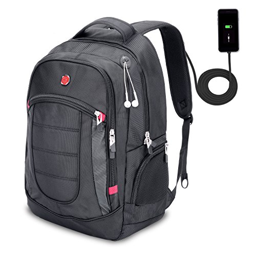XY Life Laptop Notebook Rucksack Daypack Schulrucksack Backpack Multifunktion, Mit USB Ladeanschluss, für Herren Männer Schul, 17 Zoll, Schwarz
