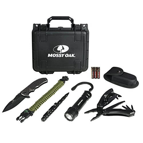 MOSSY OAK Emergency Survival Kit in Waterproof and Airproof Protective Case, with Multitool, Pocket Folding Knife, LED Tactical Flashlight, Survival Pen and 550 Paracord Bracelet