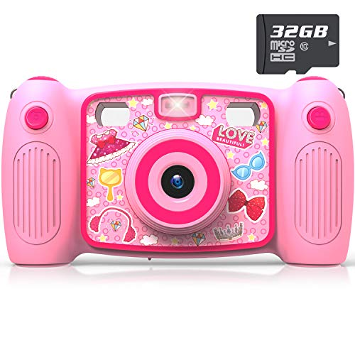 Kids Selfie Camera, AKAMATE 1080P 12MP Kids Digital Camera with 32GB SD Card Children Video Camera Camcorder Toys Gifts for 4-10 Year Old Boys Girls, Build-in 5 Games, Voice Recorder (Pink)