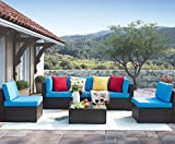 Homall 6 Pieces Patio Outdoor Furniture Sets, Low Back All Weather Rattan Sectional Sofa Manual Weaving Wicker Conversation Set with Coffee Table and Washable Couch Cushions (Blue)