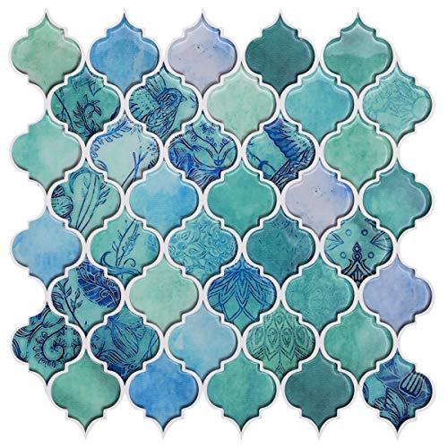 HUE DECORATION Peel and Stick Decorative Tile - Arabesque Design, Modern Turquoise Smart Tiles, Stick-On Backsplash...