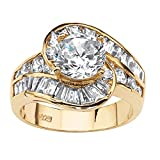 14K Yellow Gold over Sterling Silver Round Cubic Zirconia and Baguette Cut Swirl Engagement Ring...