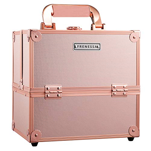 Makeup Train Case Rose Gold Travel Beauty Cosmetic Box Professional 4-trays Jewelry Storage Organizer with Lockable Portable for Women and Girls Frenessa
