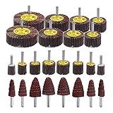 "Mixiflor 24Pack Abrasive Flap Wheel Sander,80 Grit 1/4""Shank Diameter Cone Shape Abrasive Sandpaper Flap Sanding Wheel, for Remove Rust/Weld Burr/Grinding"