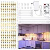 8 PCS Under Cabinet Lighting Kit, Stick on Lights, Flexible Led Strip Lights with RF Remote and Power Adapter, for Kitchen Cabinets Shelf Desk Counter Corner, 2700K Warm White, 13ft, 2400lm
