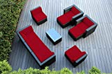 Ohana 10-Piece Outdoor Wicker Patio Furniture Sectional Conversation Set with Weather Resistant Cushions, Sunbrella Red (PN1001srd)