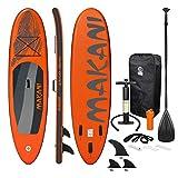 ECD Germany Sup Board Stand Up Paddle Surf Gonflable Makani | 320x82x15 cm | Charge 150kg | PVC | Orange | Planche de Surf avec Pagaie Sac de Transport Pompe à Air et Accessoires | Paddling Surfing