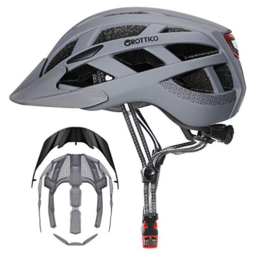 GROTTICO Adult-Youth-Men-Women Bike Helmet with Light - CPSC Certified for Mountain Road Bicycle Helmet with Replacement Pads & Detachable Visor