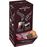 Monbana Coffret 800 gr Assortiment de 200 carrés de chocolat. 10 saveurs différentes, chocolat au lait, noir 70 %...