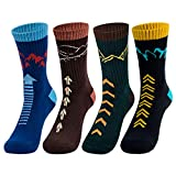 Time May Tell Mens Hiking Socks Moisture Wicking Cushion Crew Socks for Terkking,Outdoor Sports,Performance 2/4 Pack (Black,Blue,Brown,Green(4 pairs), US size 9'-12')