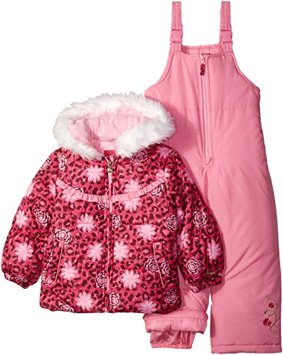 LONDON FOG Girls' Toddler Snowsuit with Snowbib and Puffer Jacket, Rocket Pink, 3T