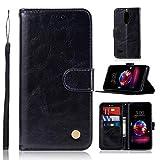 Teepo LG Aristo 2 case, LG Aristo 3 Leather case, LG Rebel 4 LTE/Tribute Empire Clamshell Wallet case/Wrist Strap/Magnetic Buckle/Credit Card Slot Holder/Bracket Function for LG Aristo 2 Plus (Black)