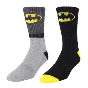 DC Comics Batman Logo 2 Pair Men's Athletic Crew Socks Gray Stripe & Black shoe size 6-12