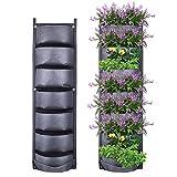 Torba do sadzenia Yuccer, 7 kieszeni Pionowe torby do sadzenia Wiszące czarne torby do sadzenia do dekoracji wnętrz w ogrodzie ogrodowym (czarne)